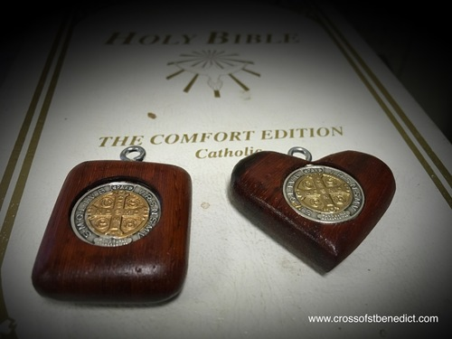 St. Benedict Protection Pendants, 1.25 inches, Square and Heart-shaped
