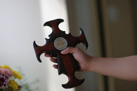 Cross of St. Benedict, made of solid wood, wenge and bloodwood.