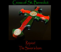 St. Benedict Christmas Cross with Holy Family Medal, 10 inch.