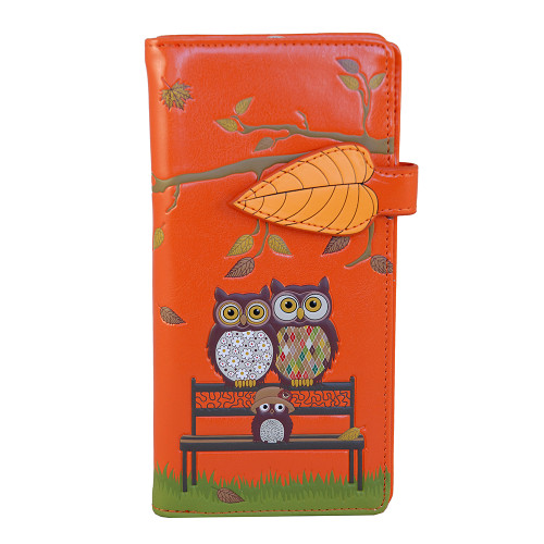 Park Bench Owls - Large Zipper Wallet