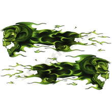 Flaming Green Tribal Skulls Decals