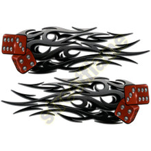 Red Dice with Flaming Tribal Flames Decals
