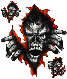 Ripping Zombie Skull Decals