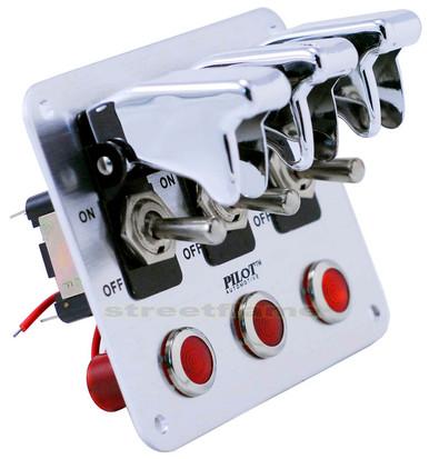 3 Toggle Switch Panel - Chrome (Pilot) - streetflame