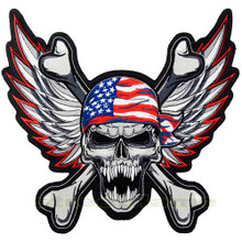 Winged USA Skull Biker Patch - Large
