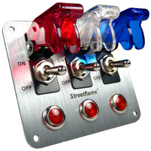 3 Toggle Switch Panel - Translucent Red White Blue