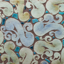 "Decorative tile ""Hiedra"" -  30cm x infinity - Glazed in matt greens and touches of crystalline."