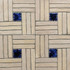 "Decorative tile ""Woven"" - 20x20cm - Glazed in matt white with touches of crystalline navy blue."