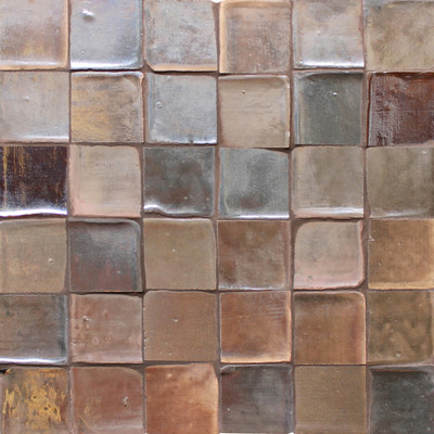 "Decorative tile ""Metallic"" - 5 x 5cm - Glazed in crystalline metallic and grey tones."