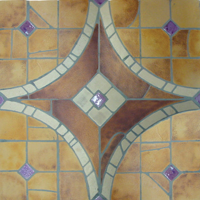 "Decorative tile ""Vitreaux"" - 100 x100cm - Glazed in ocres, brown and purple."