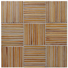 "Decorative tile ""Tacos mimbre"" - 10x10cm - glazed in crystalline ocre tones."
