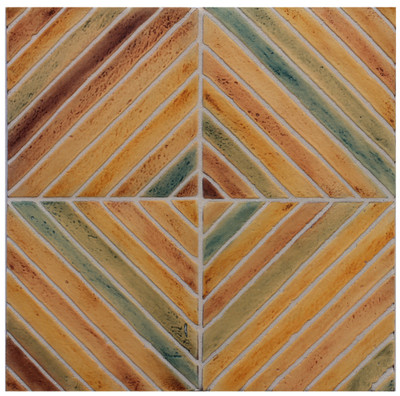 "Decorative tile ""Vertical Diagonal"". Glazed in matt ocre, browns and green."
