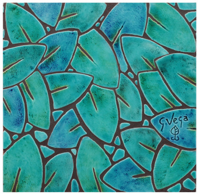 "Decorative tile ""Jungla leaves"" - glazed in crystalline turquoise and green."