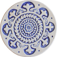 suzani circular wall art #1 blue [15cm]