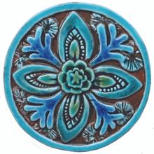 Suzani ceramic tile circular (15.5cm)