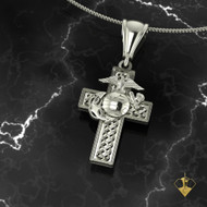 "Celtic Weave with Eagle Globe and Anchor Marine Corps Cross   ""Made by Marines for Marines"" available in Sterling Silver, 10k, 14k and 18k White or Yellow gold.   100% Satisfaction Guaranteed"