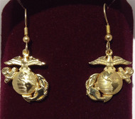 "USMC EGA 3/4"" Sterling Silver Gold Plated Earrings"