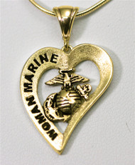 Woman Marine 10k Gold Heart Pendant