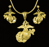 USMC Marine EGA 10k Gold Pendant & Earrings