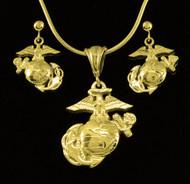 Set Marine 18k Gold EGA Pendant & Earrings