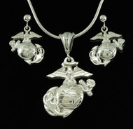USMC Marine EGA Sterling Silver Pendant & Earrings