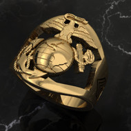 USMC 14k Gold Marine Corps Ring with Rank and Years of Service