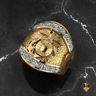 USMC Magnificent 14k Gold  Marines Ring w/ Diamonds