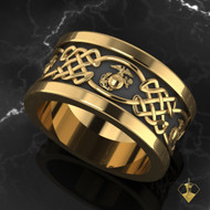 "United States Marine Corps Celtic Wedding Band available in Sterling Silver, 10k, 14k and 18k White or Yellow gold. ""Made by Marines for Marines""  100% Satisfaction Guaranteed"