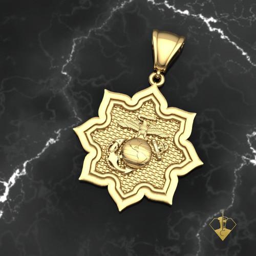 Usmc eagle globe and anchor gold pendant usmc ega in 8 point star gold pendant 10k gold aloadofball Images