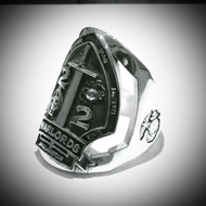 """Warlords 2nd Battalion 2nd Marines Solid Sterling Silver Marine's Ring This is approximately 1 1/4"""" Wide and a full 2mm thick, Made by Marines for Marines."""