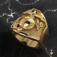 US Marine Corps Ring with Years of Service and Rank