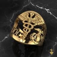 Marine USN Corpsman Ring Gold