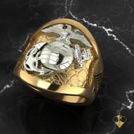 USMC Marine Spirit De Corps Gold Two Tone Ring