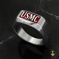USMC Rugged Ring with Inset Raised Letters Solid and Tough Sterling Silver Choice of Red or Black Background Made by Marines for Marines