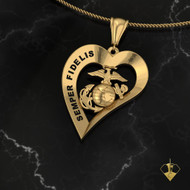 "SEMPER FIDELIS Heart Pendant   ""Made by Marines for Marines"" available in Sterling Silver, 10k, 14k and 18k White or Yellow gold.   100% Satisfaction Guaranteed"