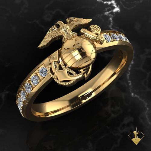 USMC Woman Marines EGA Signet Diamond Ring