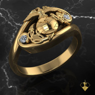"Diamonds & Gold Woman Marines Ring  available is Sterling, 10k, 14k and 18k Gold ""Made by Marines for Marines""  100% Satisfaction Guaranteed"