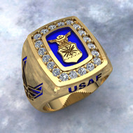 US AIR FORCE Ring in Solid 14K Gold with Blue Inlay