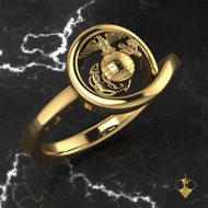 Eagle Globe & Anchor Ring surrounded by gold USMC Woman Marines 14k solid yellow gold