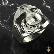 Sniper Marine Corps Ring in White Gold