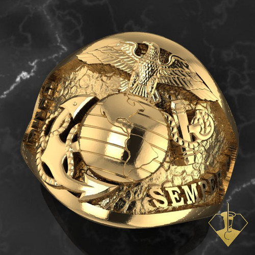 Semper Fi and USMC on a rock background with our beloved Eagle Globe and Anchor in the center made in solid 10k Gold. This Marine Corps Ring says it all and the bottom of the band is 2mm thick is made to last a lifetime. Created and Made by a Marine for Marines.