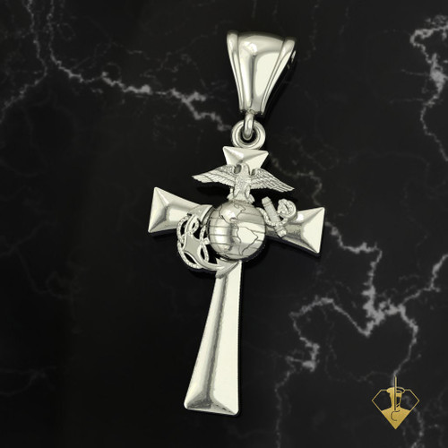 Clean USMC Solid 14k Gold Cross Made by a Marine for Marines