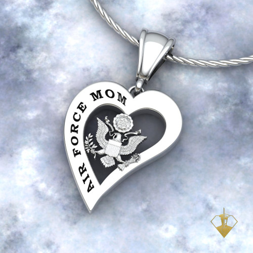 "US AIR FORCE MOTHERS HEART PENDANT w/18"" Sterling Silver Chain available in Sterling, 10k, 14k and 18k white or yellow gold ""Made by Veterans for Veterans"""