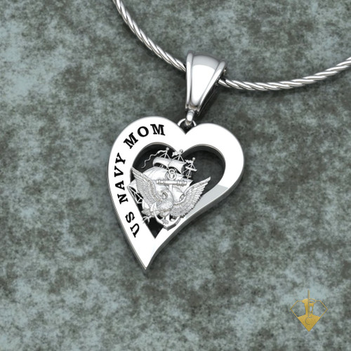 Us navy mom heart pendant us marine corps jewelry us army mom heart pendant w18 sterling silver chain available in sterling mozeypictures Image collections