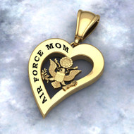 "US AIR FORCE MOM HEART PENDANT 10K GOLD Sterling, 10k, 14k and 18k white or yellow gold ""Made by Veterans for Veterans""  100% Satisfaction Guaranteed"