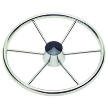 "15 1/2"" Fifthteen And A Half Inch 6 Spoke Destroyer Steering Wheel With Black Center Cap 1521617 - 1"" One Inch Straight Shaft - 3/8"" Three Eighth Inch Spoke Size - 10 Ten Degree Of Dish"