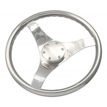 "13 1/2"" Thirteen And A Half Inch Orion Sport Style Steering Wheel with Finger Grip Rim and Stainless Cap 4361321FG - 3/4"" Three Quarter Inch Tapered Shaft - 1/8"" One Eighth Inch THICK Spoke Size - 22 Twenty Two Degree Of Dish"