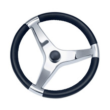 """13 1/2"""" Thirteen And A Half Inch Evo Pro 316 Cast Stainless Steel Steering Wheel with Black Pastic Cap 7241321FG - 3/4"""" Three Quarter Inch Tapered Shaft - N/A Spoke Size - 22 Twenty Two Degree Of Dish"""