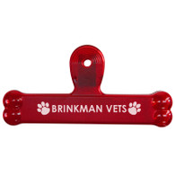 Bone Shape Pet Food Bag Clips with Custom Imprint - Transparent Red