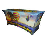 Custom Full Coverage Printed 8' Spandex Fabric Table Cover
